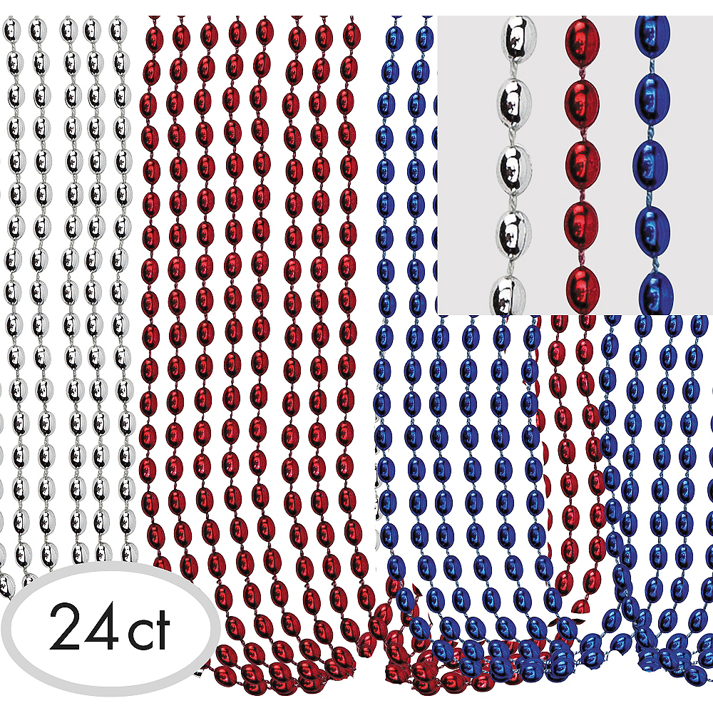 Red, White & Blue Metallic Bead Necklaces 24ct Image #1