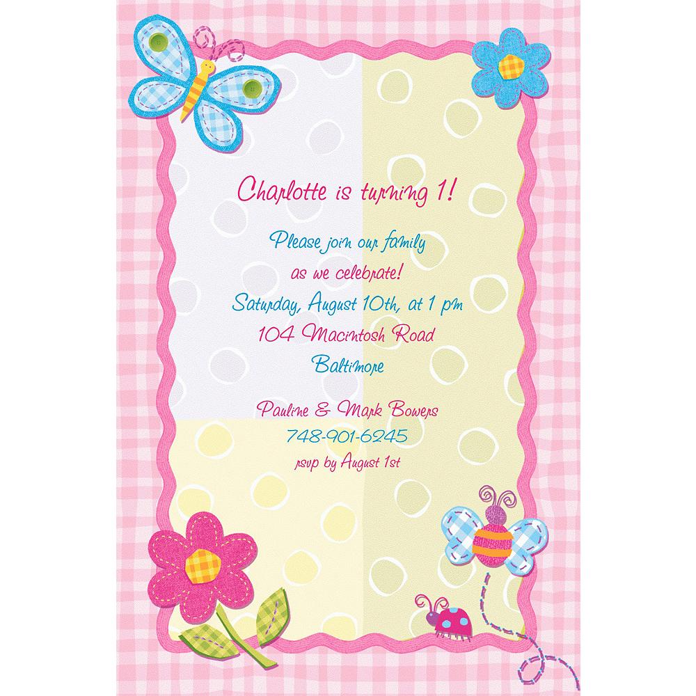 Custom Hugs & Stitches Girl Invitations Image #1