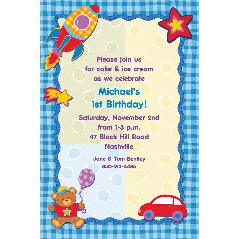 Custom Hugs & Stitches Boy Birthday Invitations | Party City
