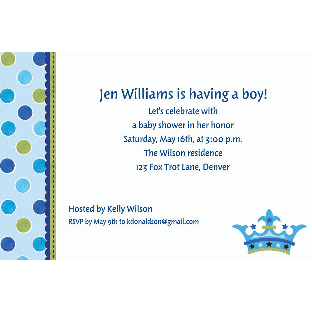 Custom little prince baby shower invitations party city custom little prince baby shower invitations filmwisefo