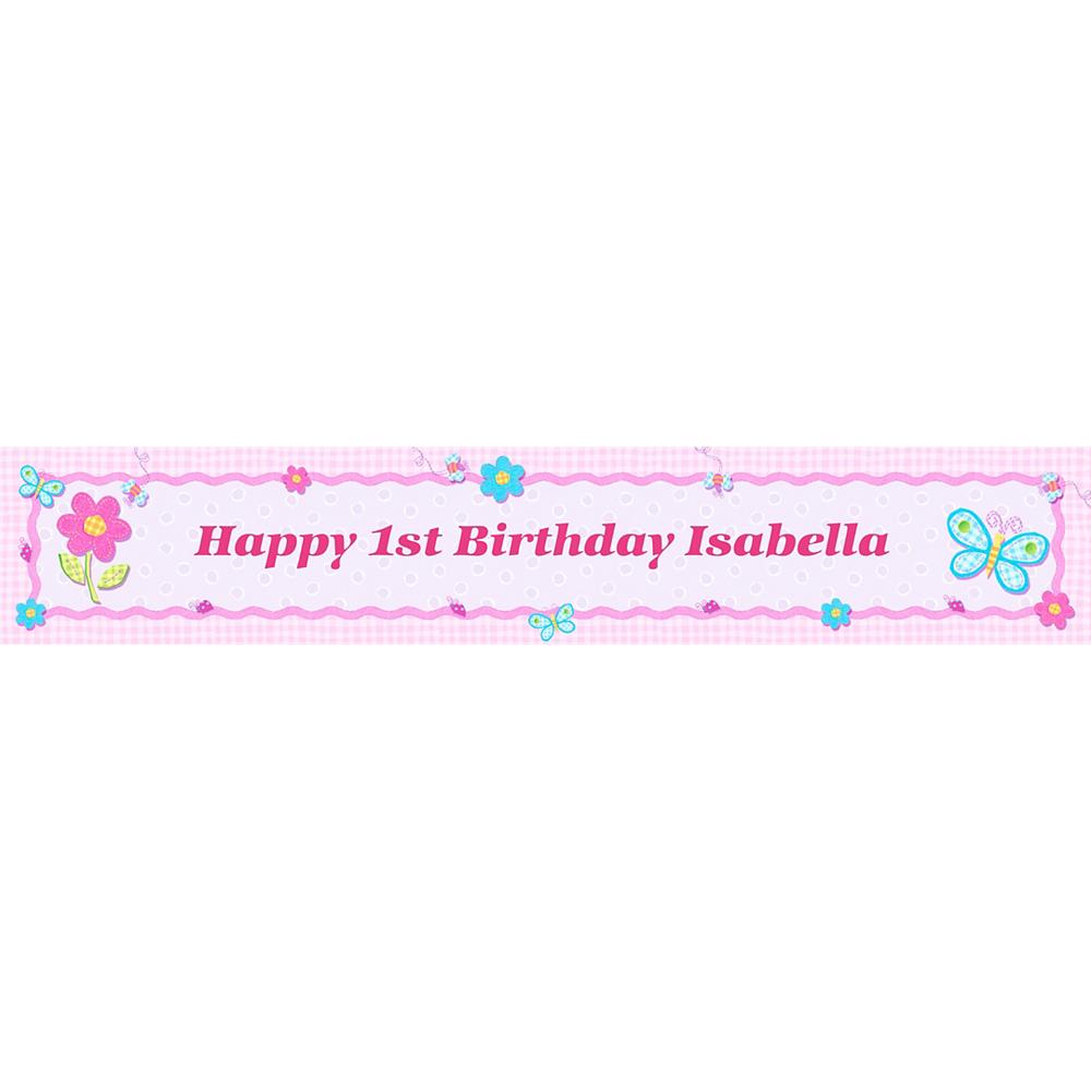 Custom Hugs & Stitches Girl Birthday Banner 6ft Image #1