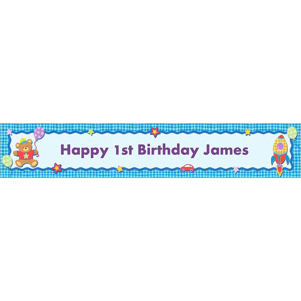 Custom Hugs & Stitches Boy Birthday Banner 6ft Image #1
