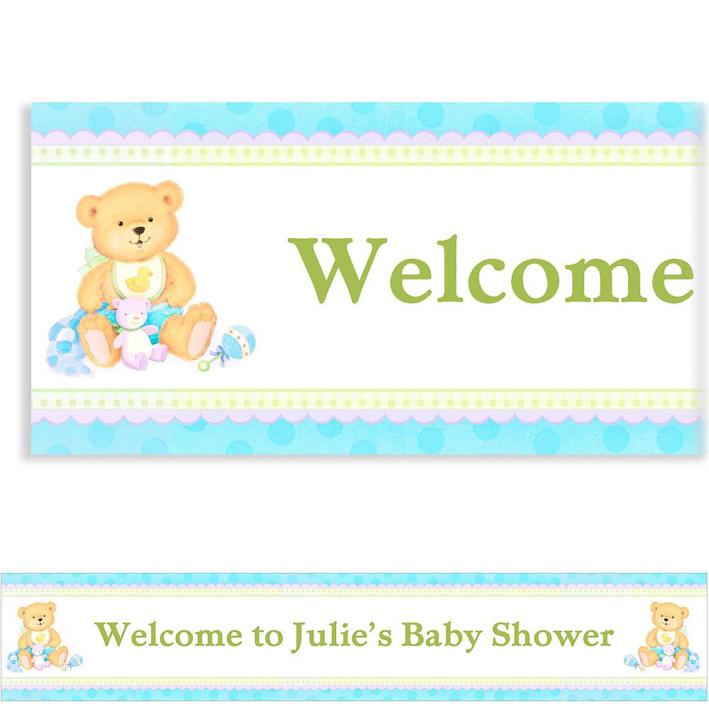 Custom Precious Bear Blue Baby Shower Banner 6ft Image #1