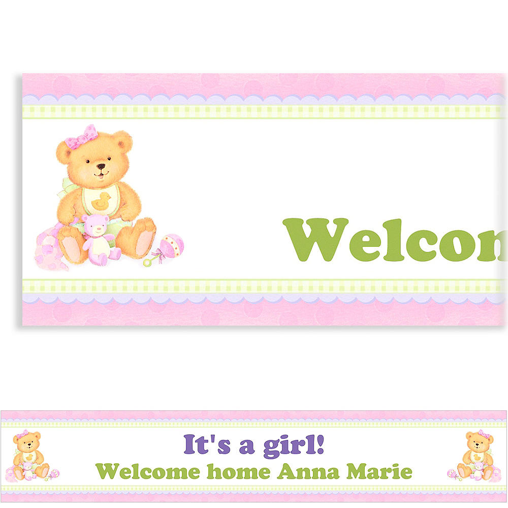 Custom Precious Bear Pink Baby Shower Banner 6ft Image #1