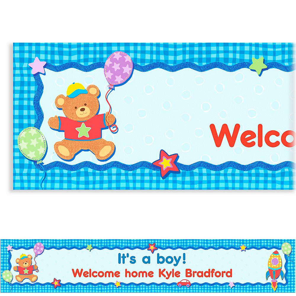 Custom Hugs & Stitches Boy Baby Shower Banner 6ft Image #1