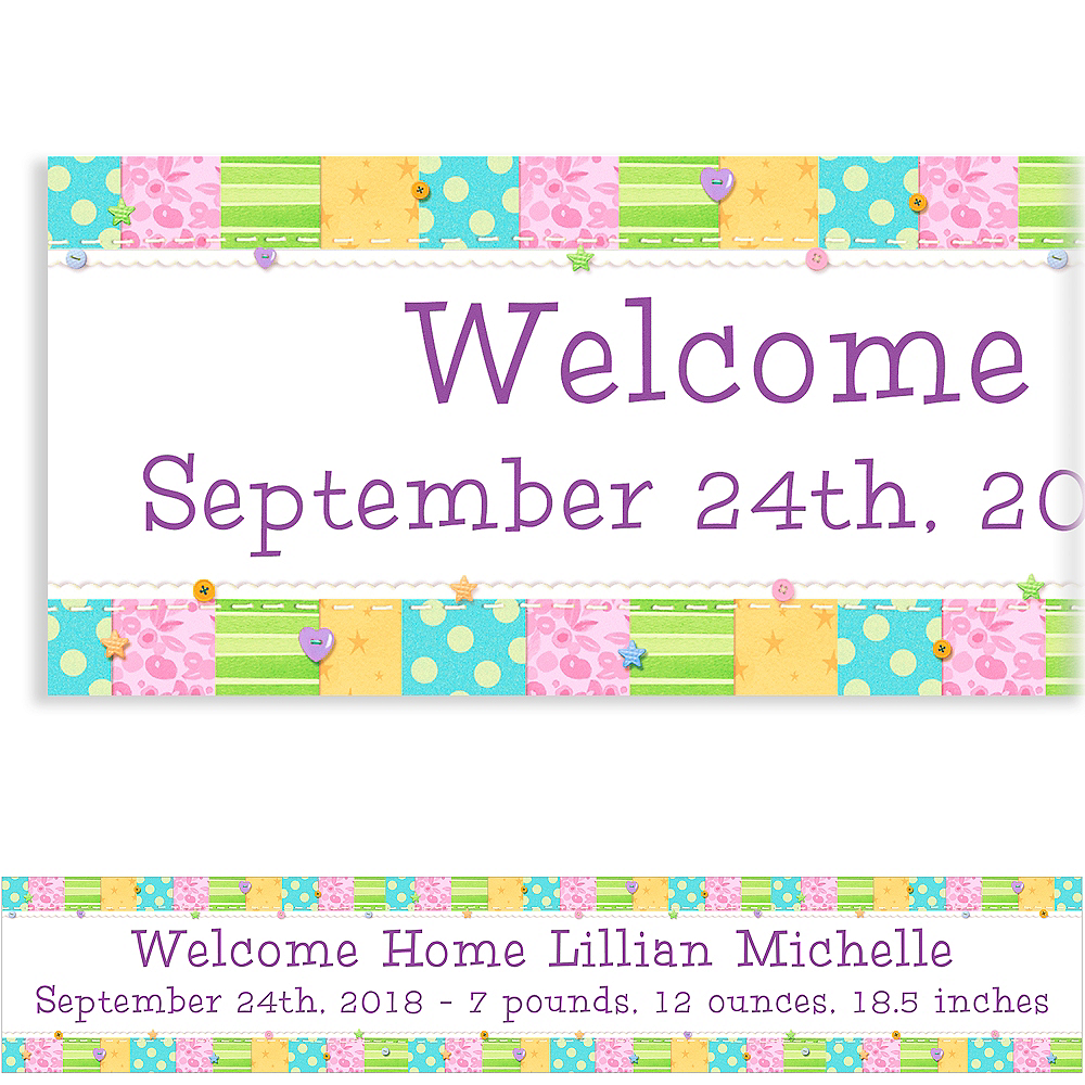 Custom Cute As A Button Baby Shower Banner 6ft Image #1