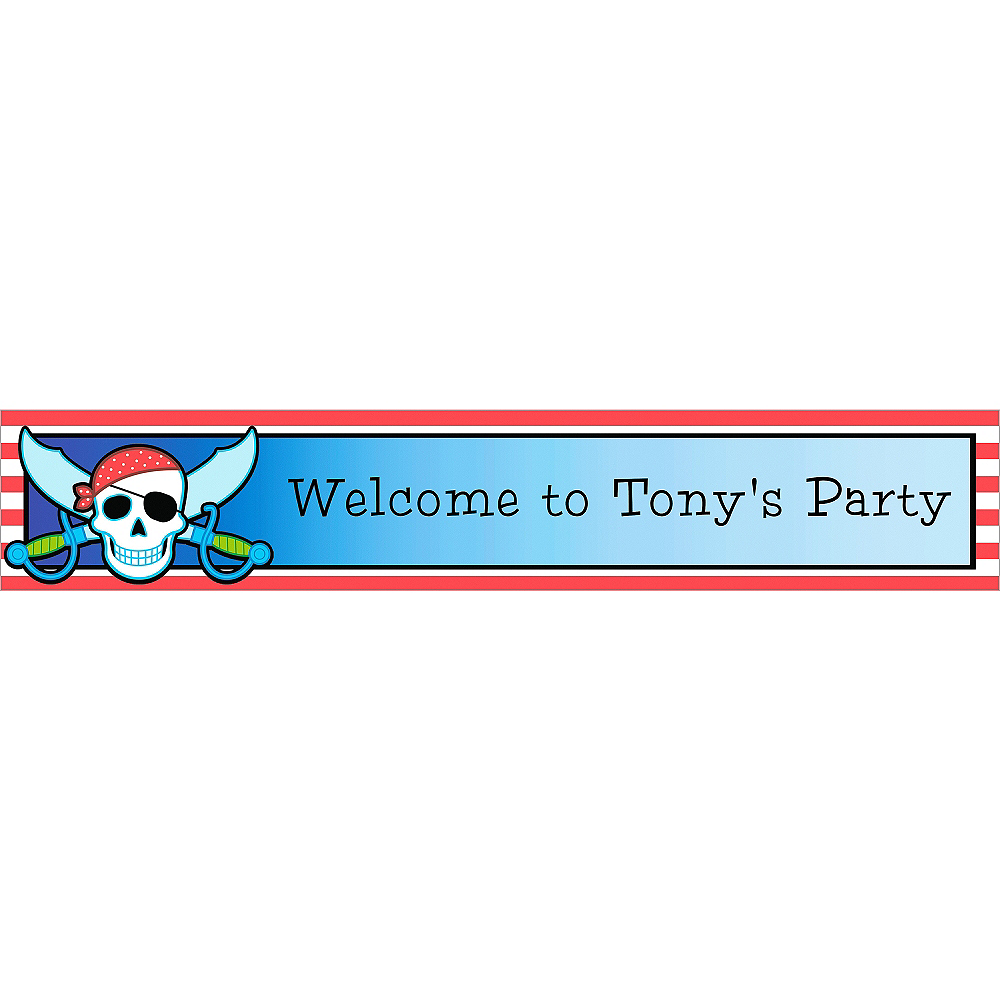 Custom Pirate Party Stripe Birthday Banner 6ft Image #1