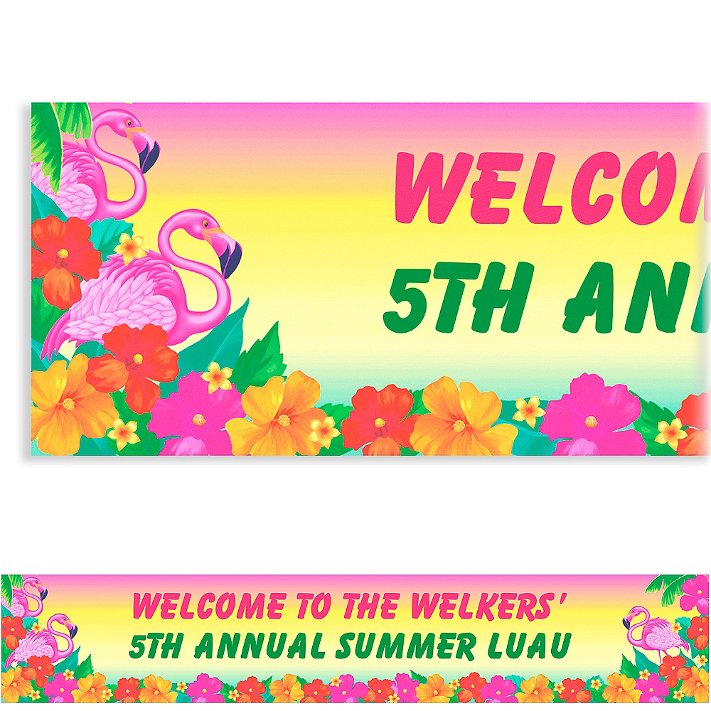 Custom Flamingo Beach Luau Banner 6ft Image #1