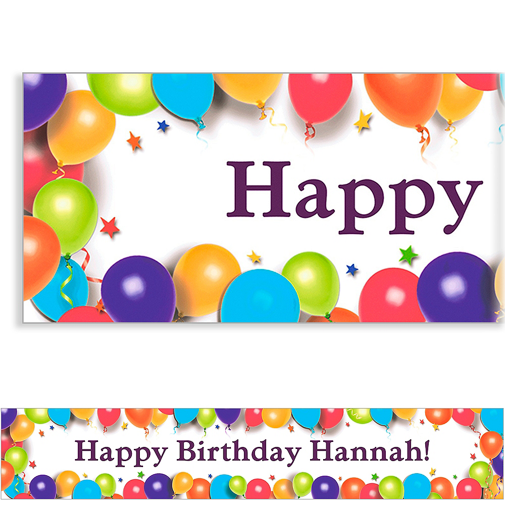 Custom Balloon & Stars Birthday Banner 6ft Image #1
