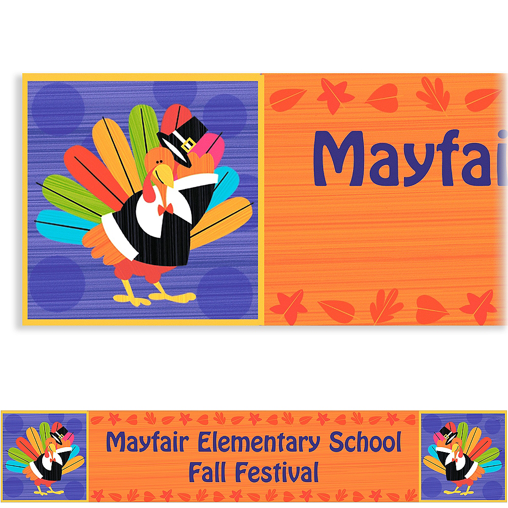 Custom Fun Turkey Thanksgiving Banner 6ft Image #1