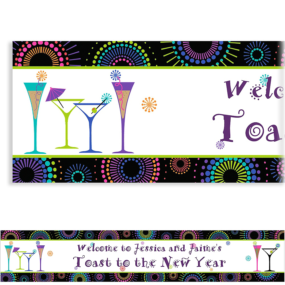 Custom Countdown Cocktails New Year's New Year's Banner 6ft Image #1