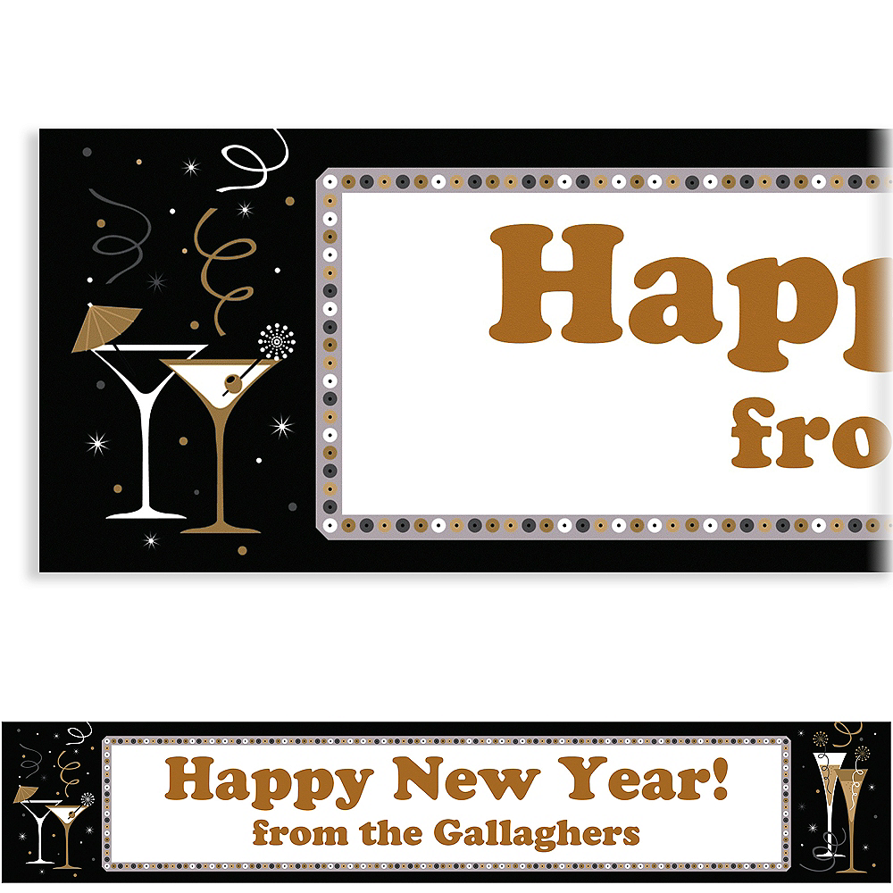 Custom Let\'s Toast New Year\'s Banner 6ft | Party City