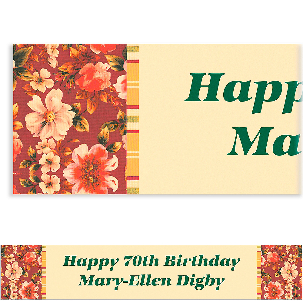 Custom Classic Red Floral Banner 6ft Image #1