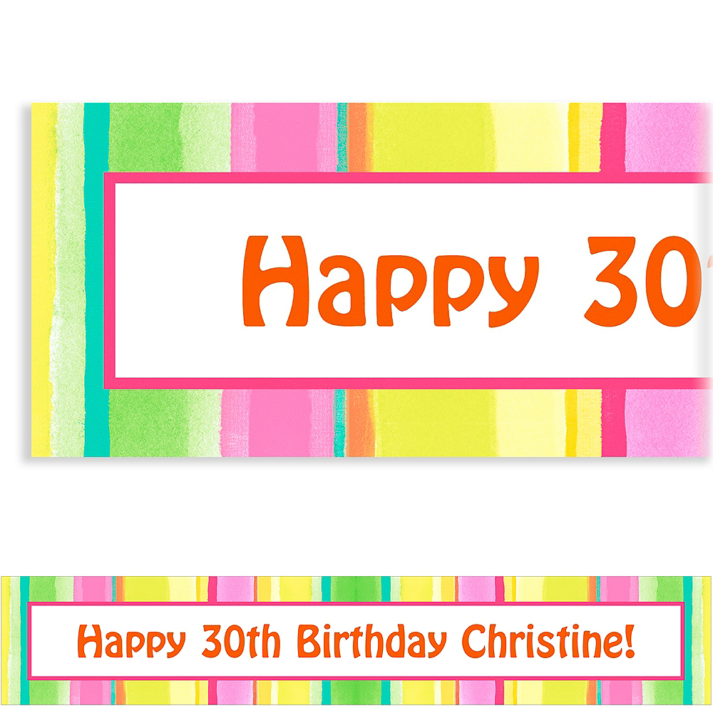 Custom Pink Sunny Stripe Banner 6ft Image #1