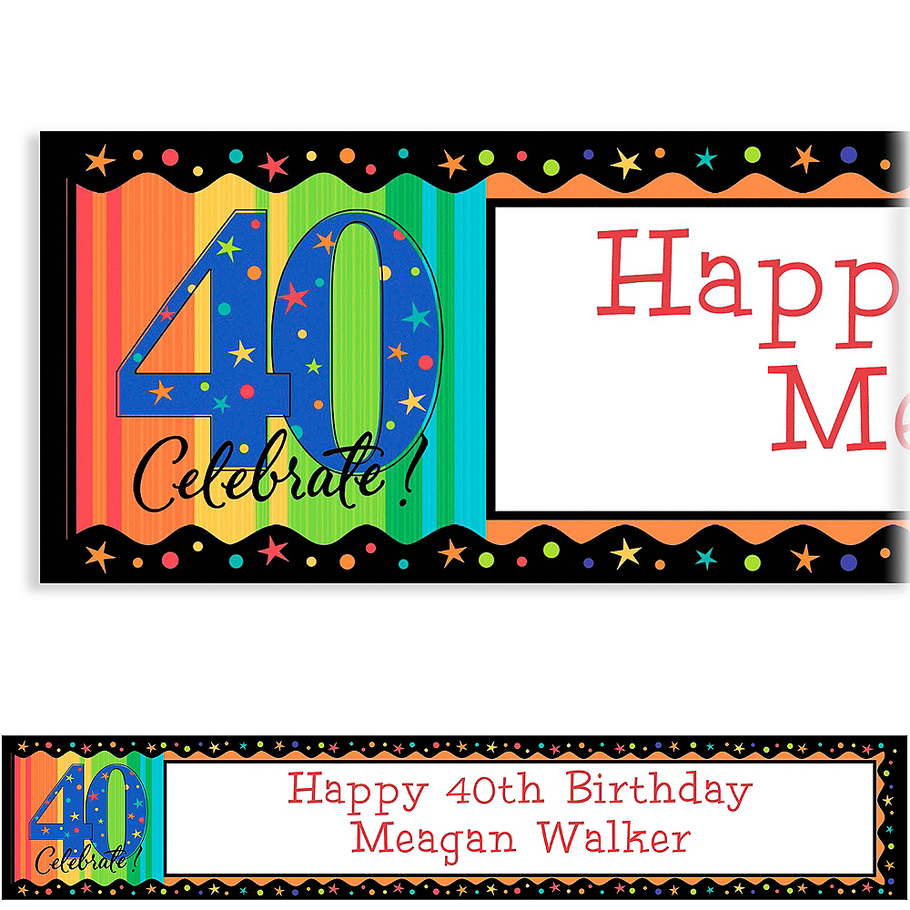 Custom A Year to Celebrate 40th Birthday Birthday Banner 6ft Image #1