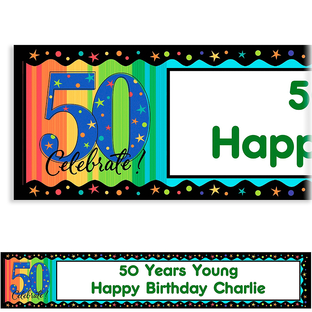 Custom A Year to Celebrate 50th Birthday Banner 6ft Image #1