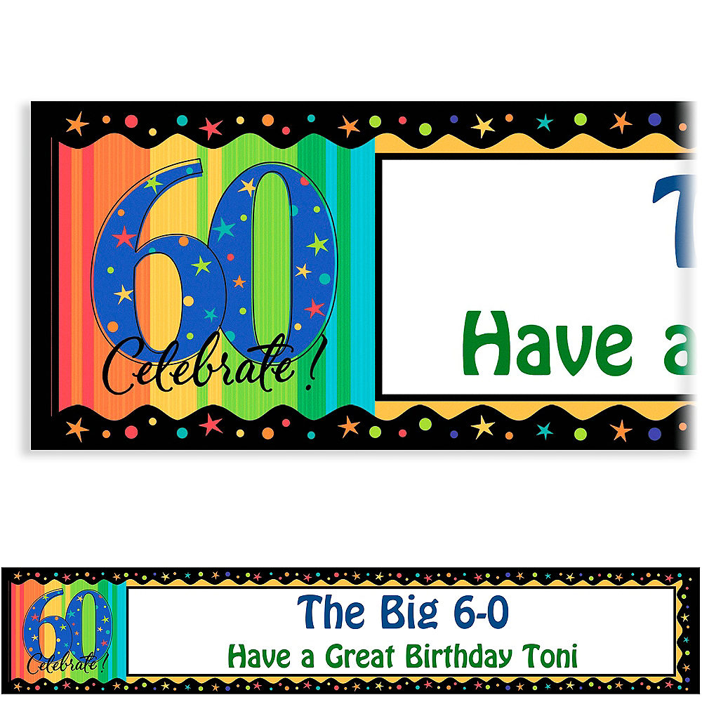 Custom A Year to Celebrate 60th Birthday Banner 6ft Image #1