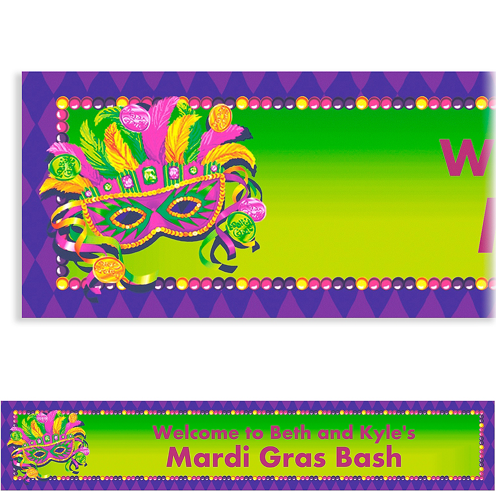 Custom Masquerade Mardi Gras Banner 6ft Image #1