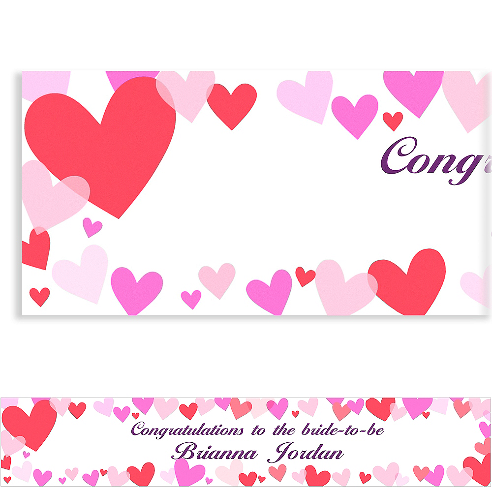 Custom Hearts Valentine's Day Banner 6ft Image #1