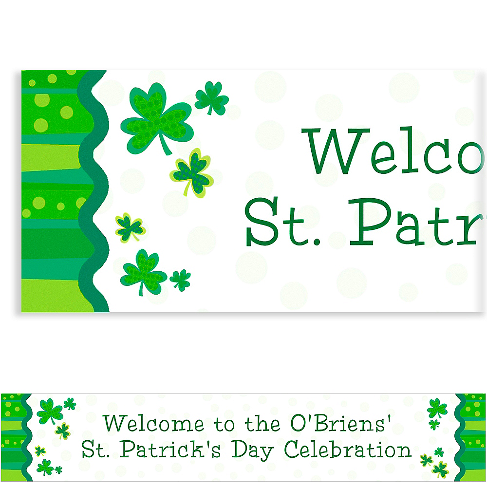 Custom Lucky Wishes St. Patrick's Day Banner 6ft Image #1