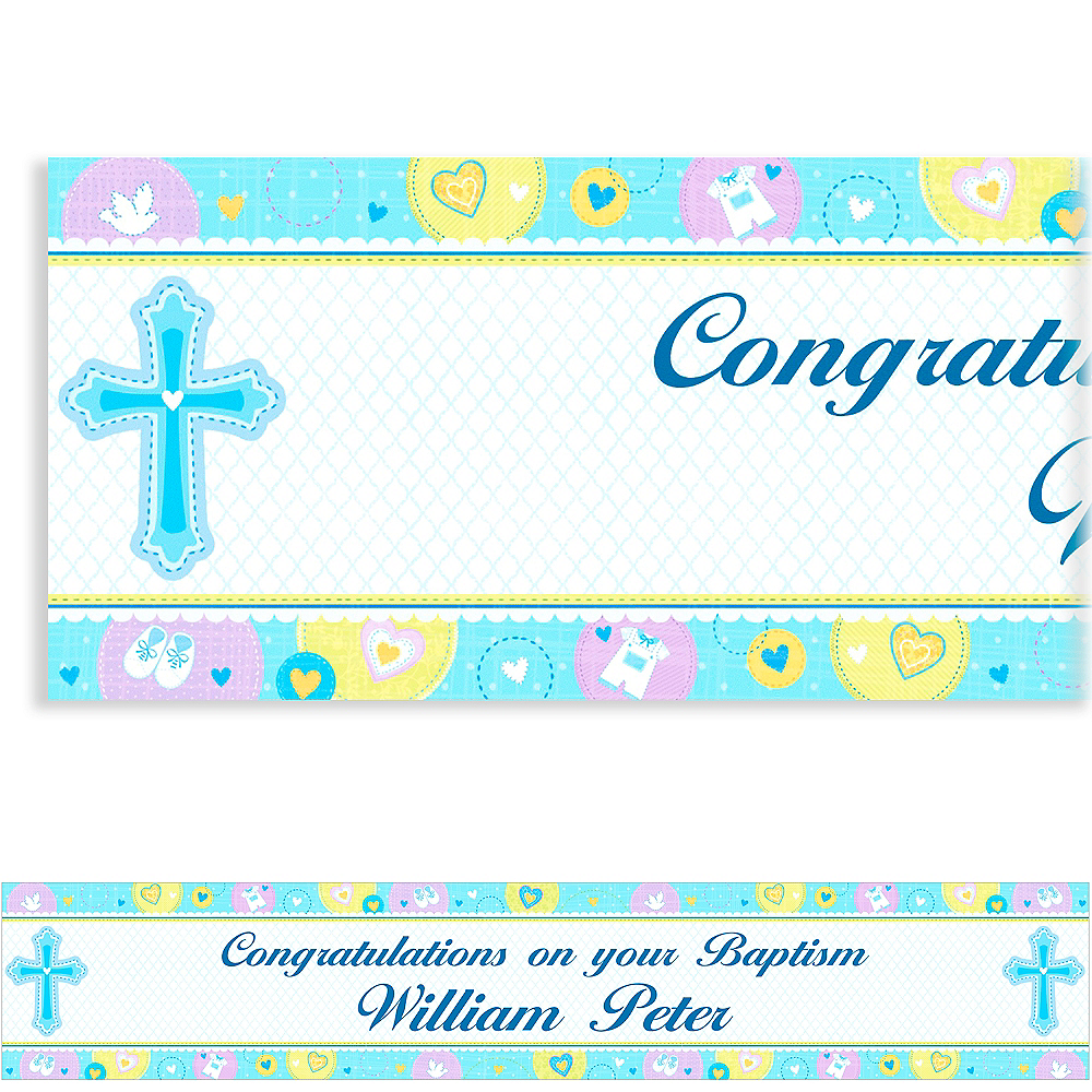 Custom Sweet Christening Boy Banner 6ft Image #1