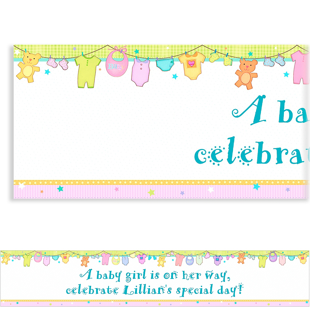Nav Item for Custom Cuddly Clothesline Baby Shower Banner 6ft Image #1