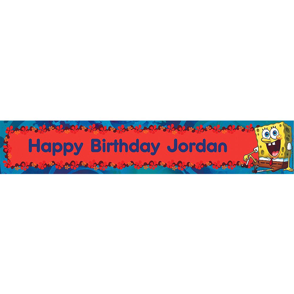 Custom SpongeBob Simply Birthday Banner 6ft Image #1