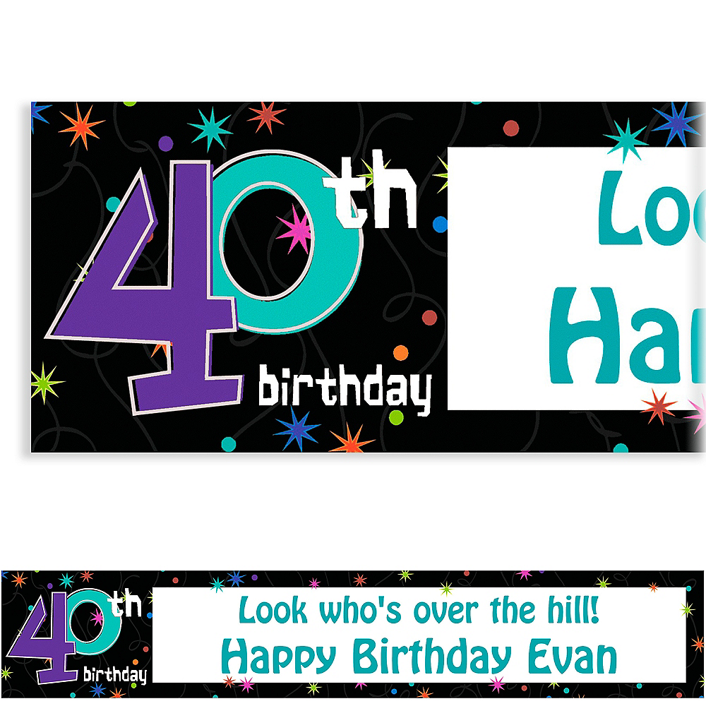 Custom The Party Continues 40th Birthday Banner 6ft Image #1