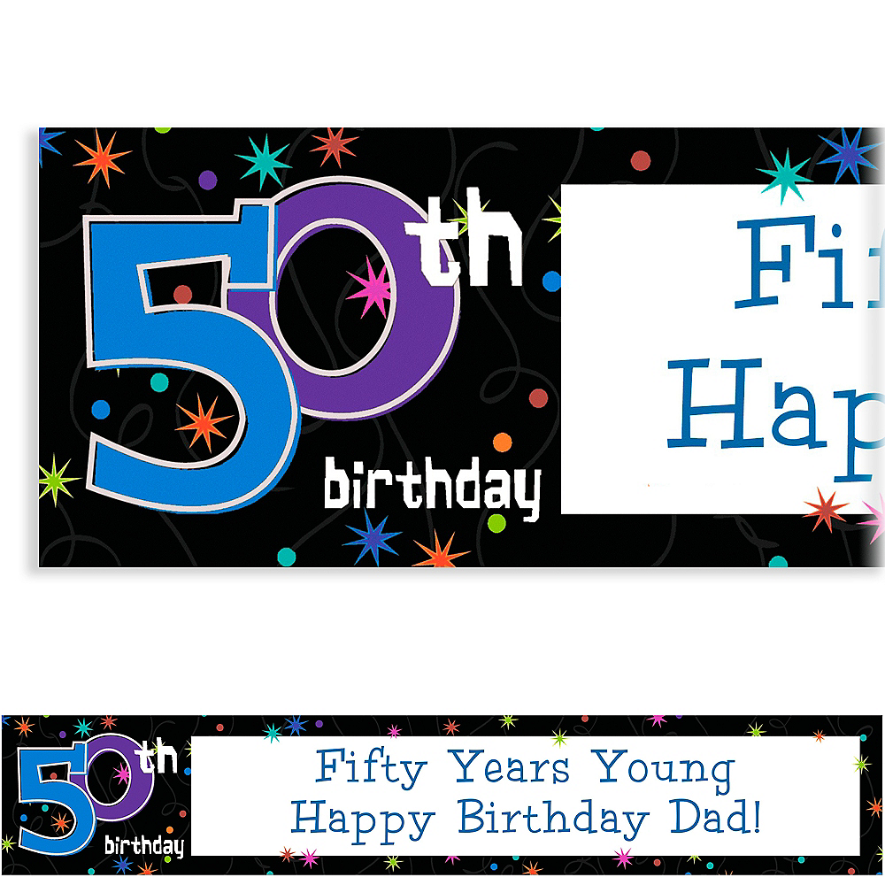 Custom The Party Continues 50th Birthday Banner 6ft Image #1
