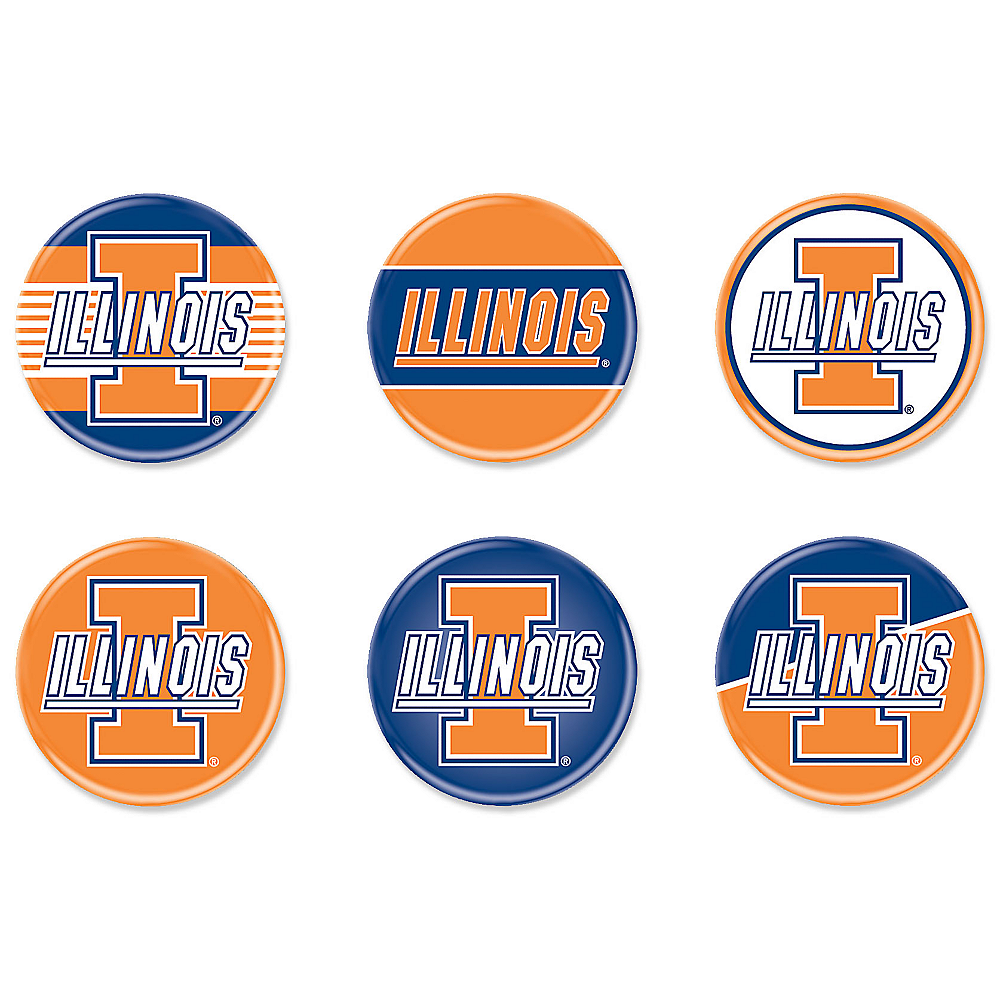 Illinois Fighting Illini Buttons 6ct Image #1