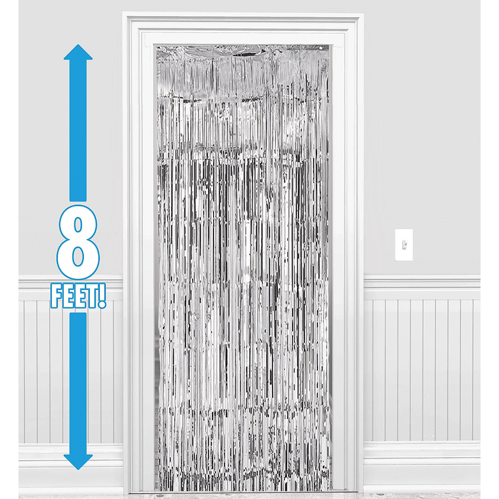 Silver Fringe Doorway Curtain