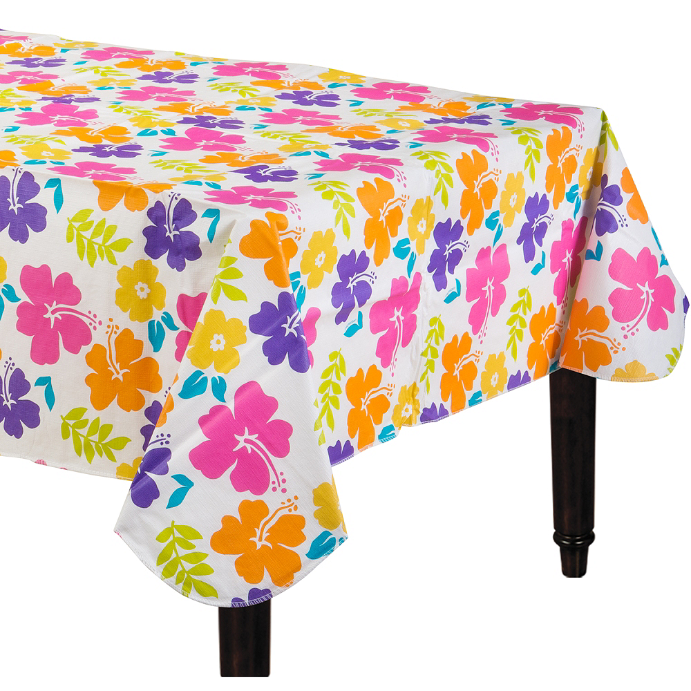 Hibiscus White Flannel-Backed Vinyl Table Cover Image #1