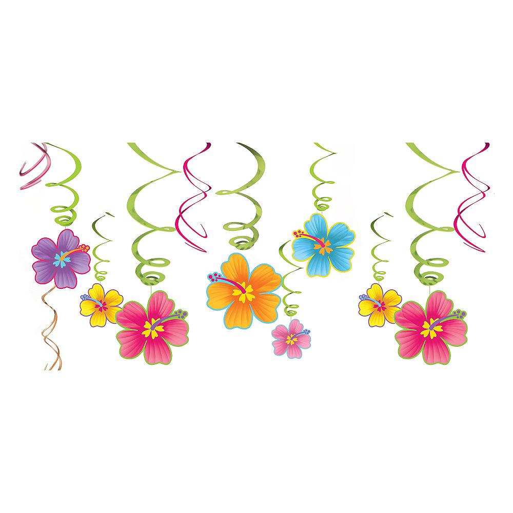 Hibiscus Swirl Decorations 12ct Image #1