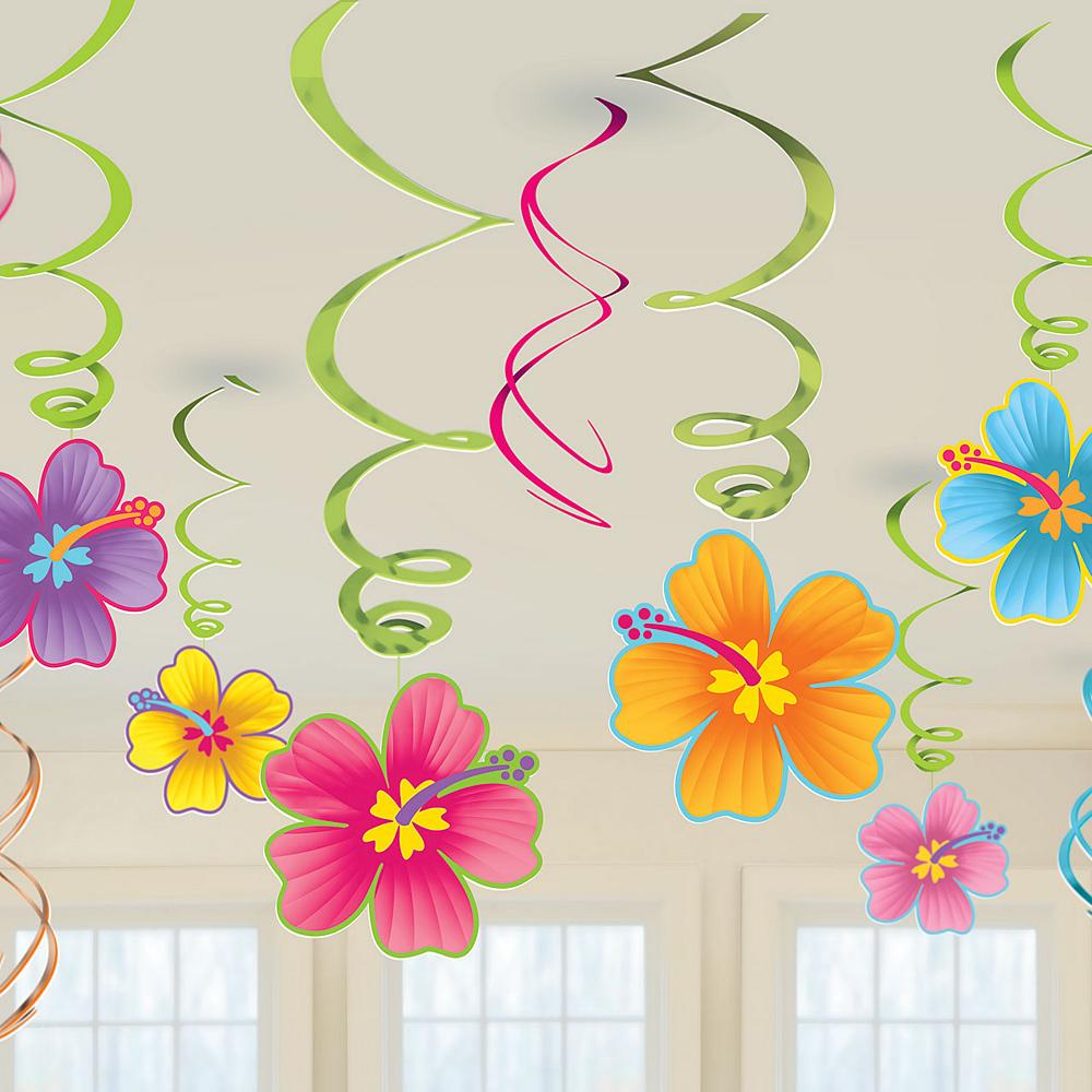 Hibiscus Swirl Decorations 12ct Image #2