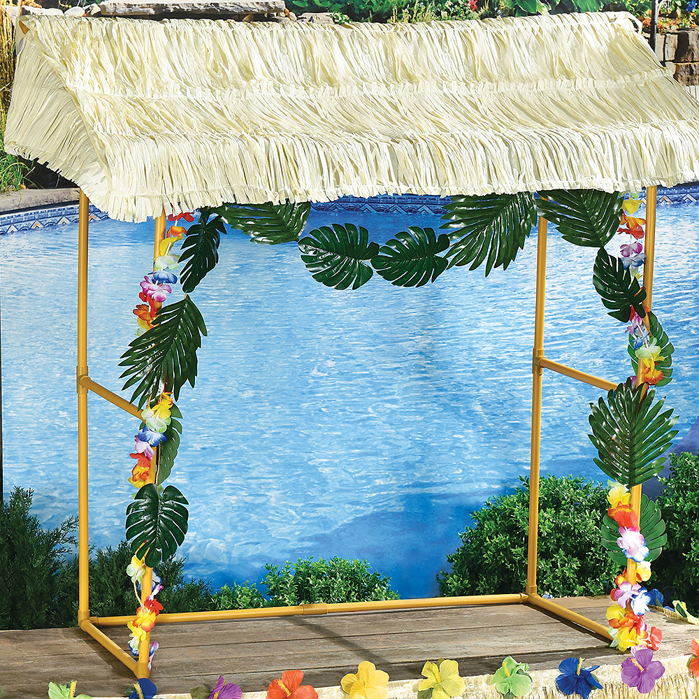 Tabletop Tiki Plastic & Fabric Bar Hut, 53in x 52in Image #1