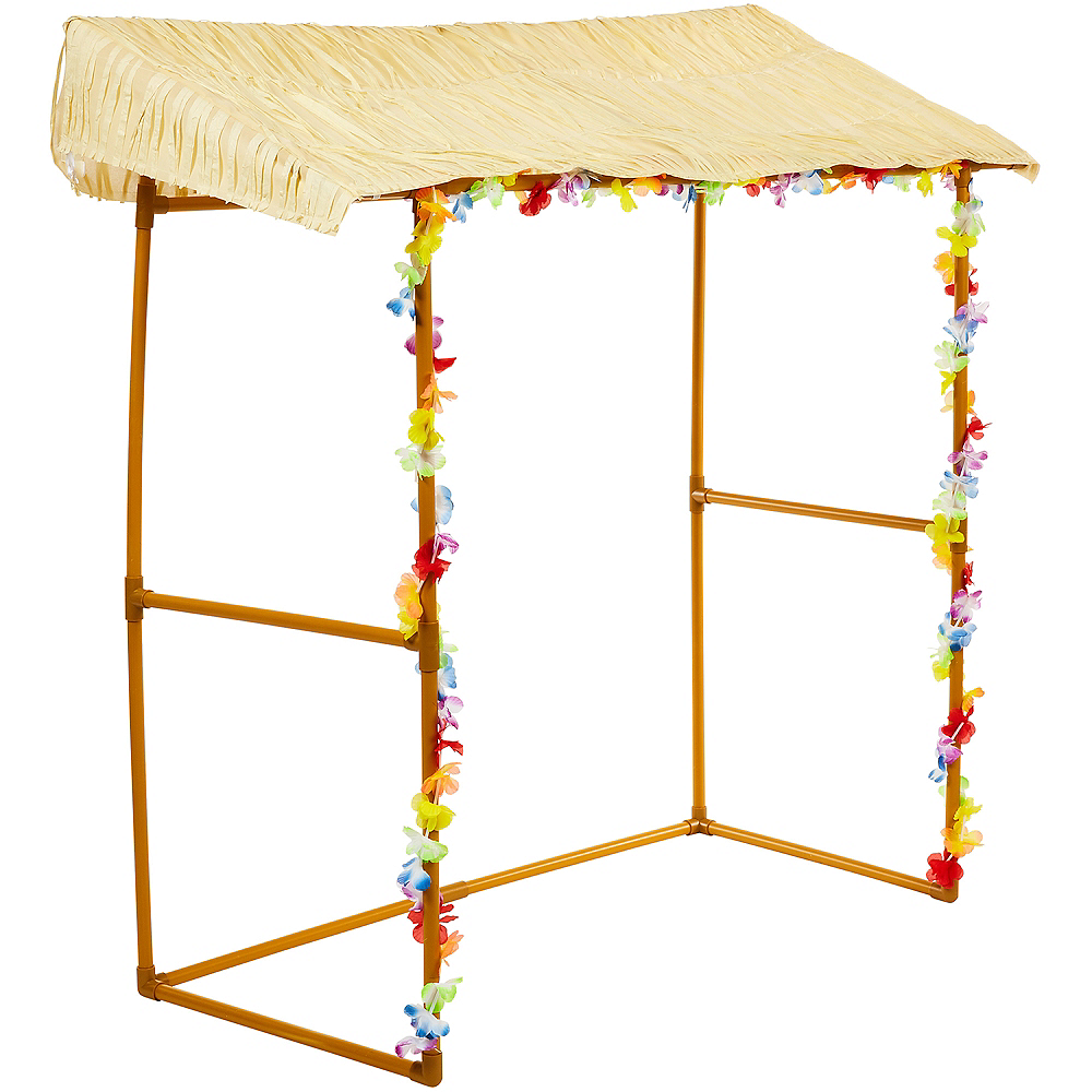 Tabletop Tiki Plastic & Fabric Bar Hut, 53in x 52in Image #3