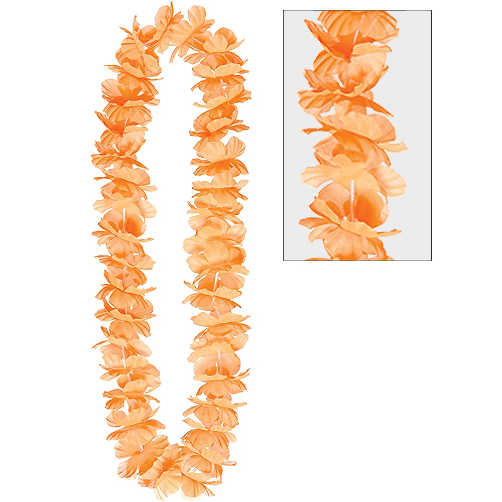 Orange Hawaiian Flower Lei 40in Party City