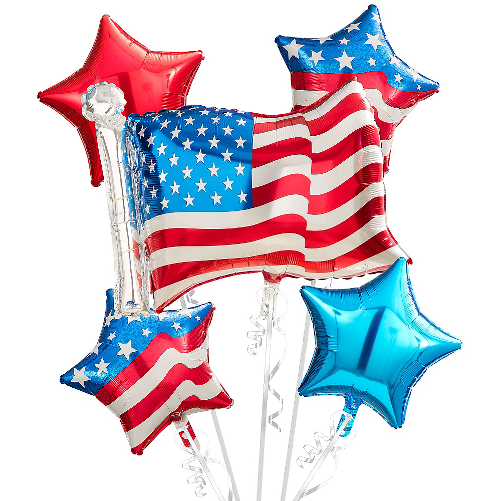 American Flag Balloon Bouquet 5pc Image #1