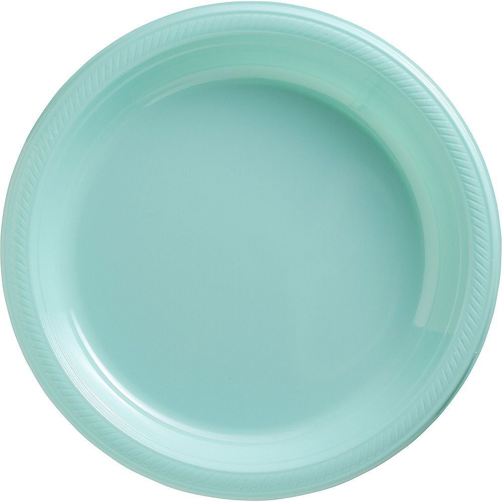 Robin's Egg Blue Plastic Dinner Plates 20ct Image #1