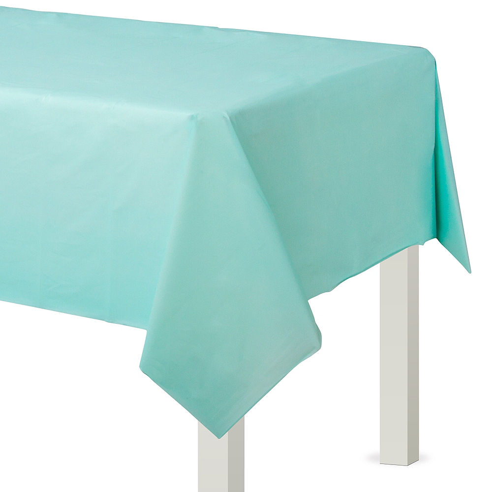 Robin's Egg Blue Plastic Table Cover Image #1