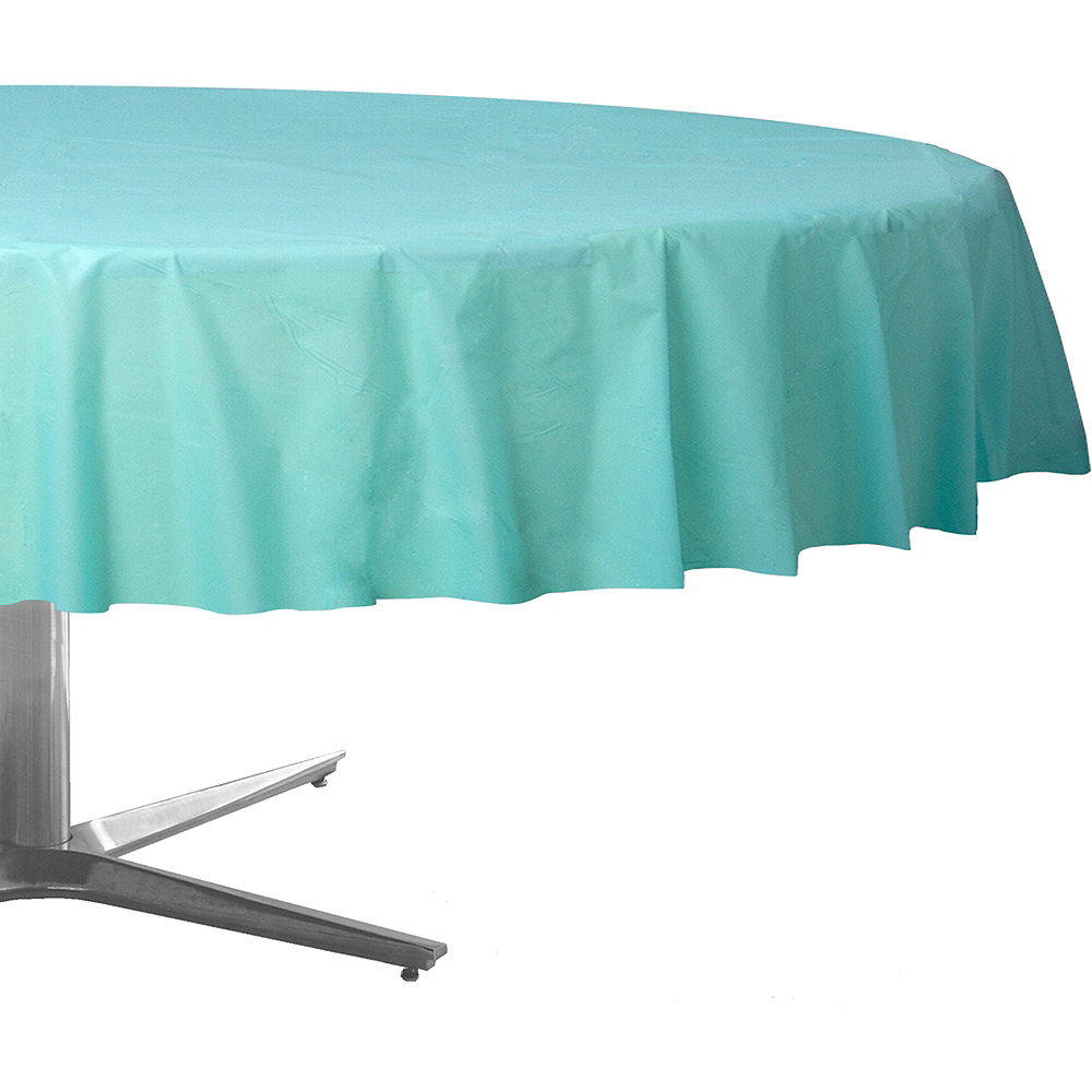 Robin's Egg Blue Plastic Round Table Cover Image #1