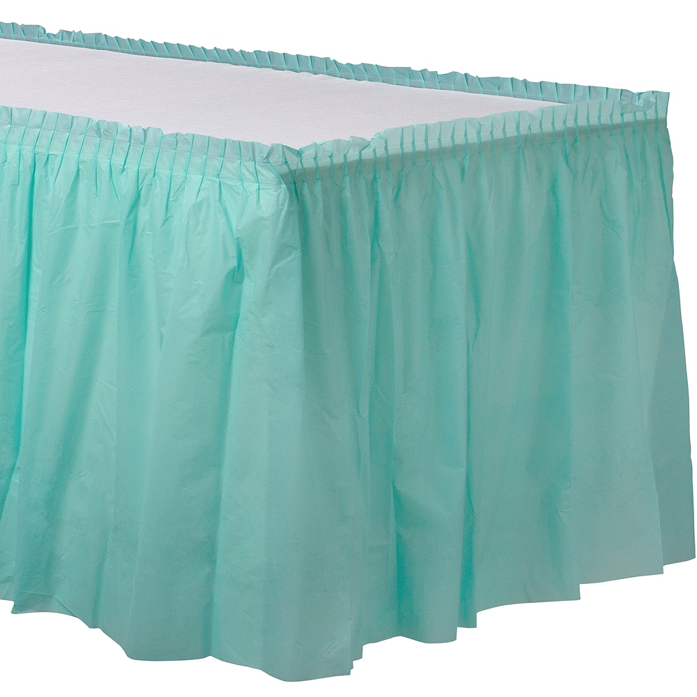 Robin's Egg Blue Plastic Table Skirt Image #1
