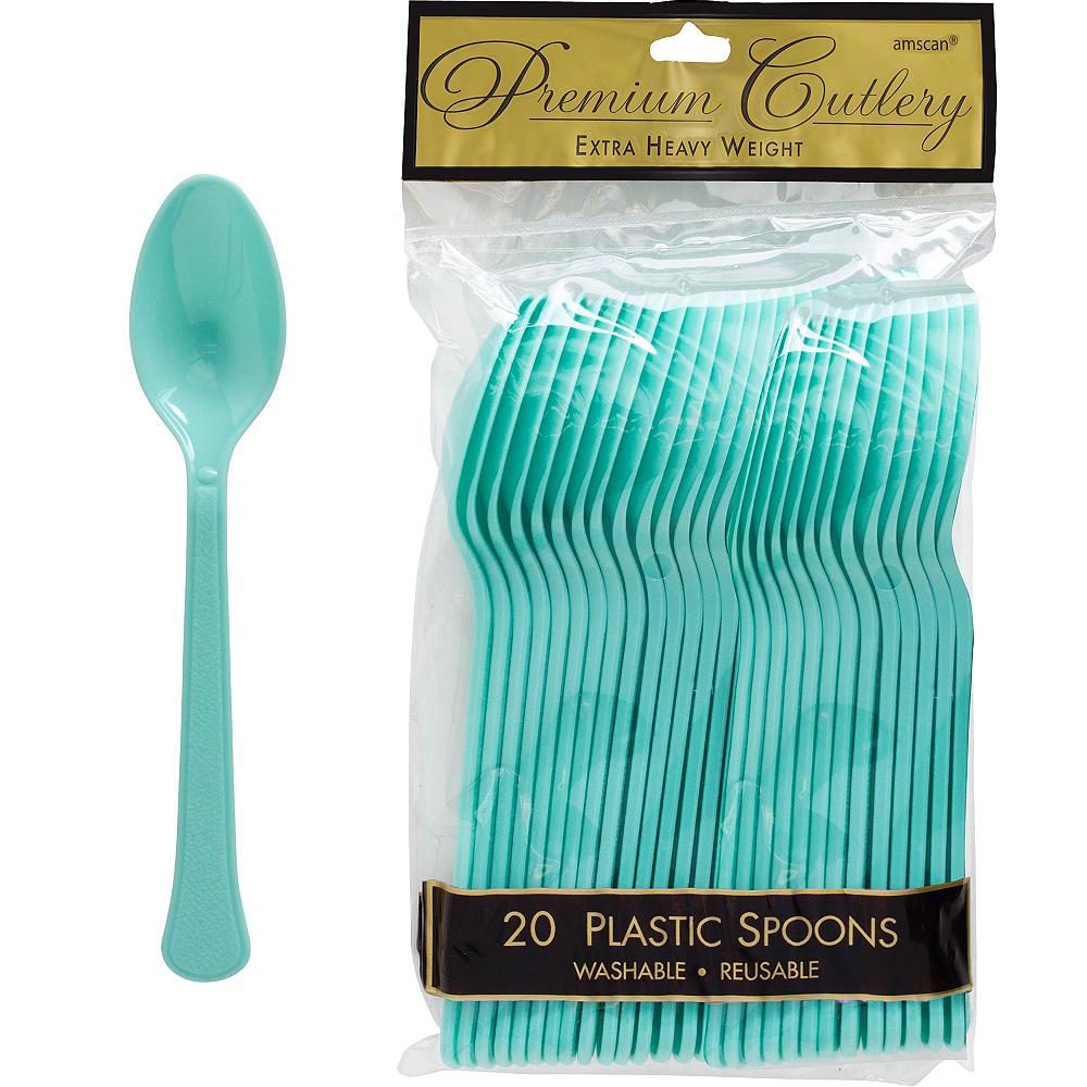 Nav Item for Robin's Egg Blue Premium Plastic Spoons 20ct Image #1