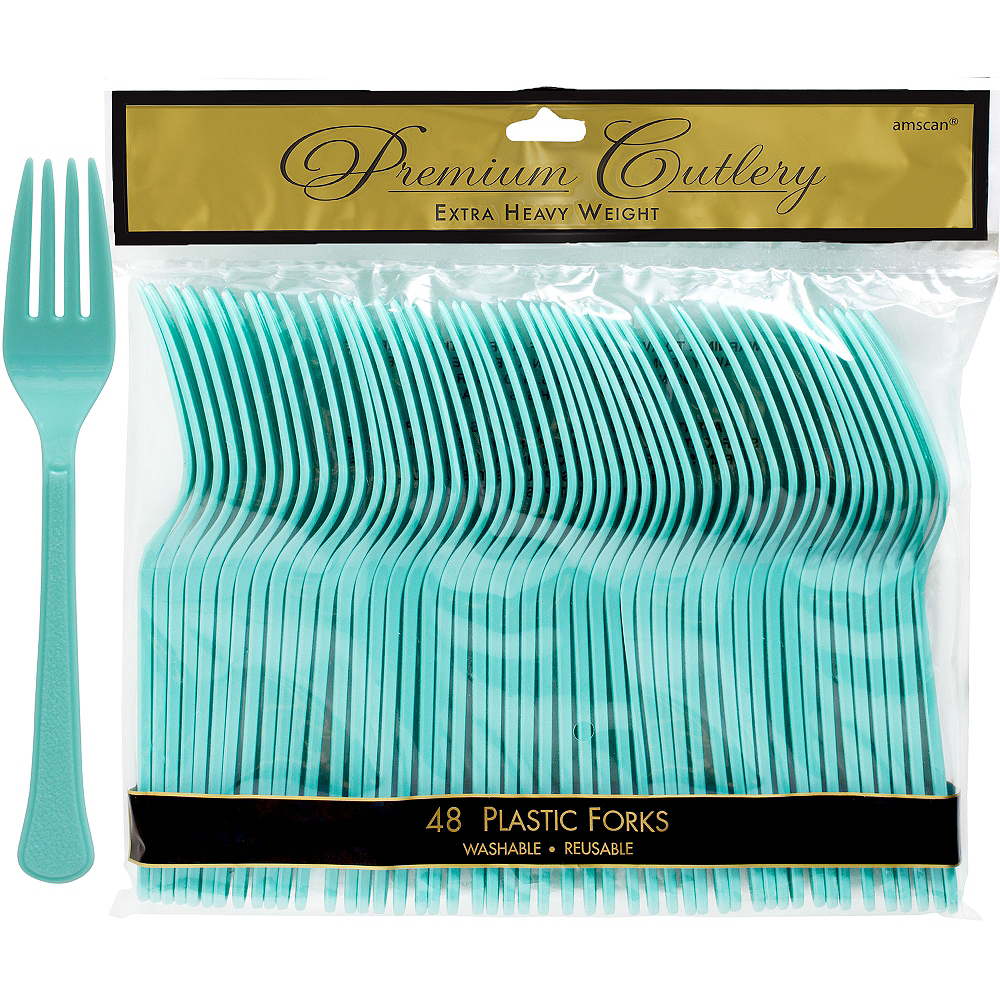 Robin's Egg Blue Premium Plastic Forks 48ct Image #1