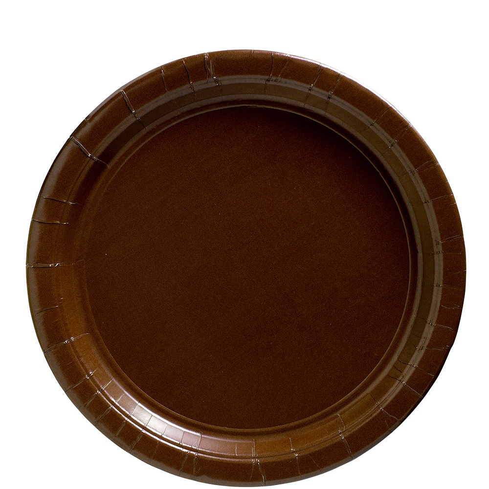 Chocolate Brown Paper Lunch Plates, 9in, 50ct Image #1