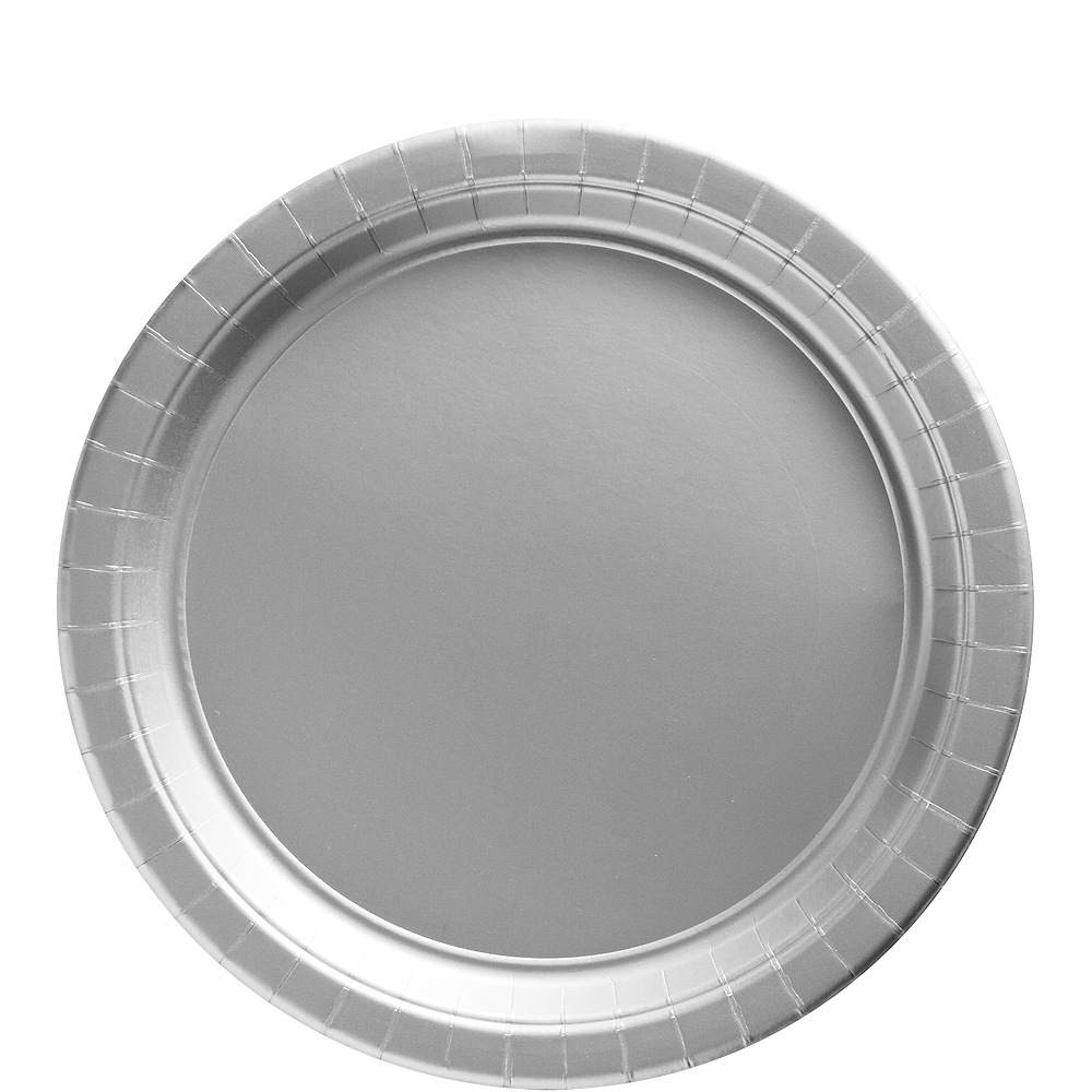 Silver Paper Lunch Plates, 9in, 50ct Image #1