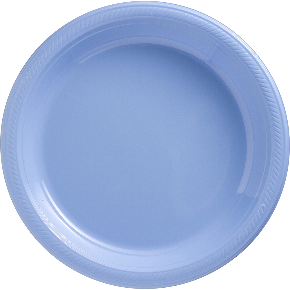 Big Party Pack Pastel Blue Plastic Dinner Plates 50ct Image #1