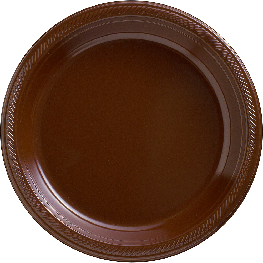 Chocolate Brown Plastic Dinner Plates, 10.25in, 50ct Image #1