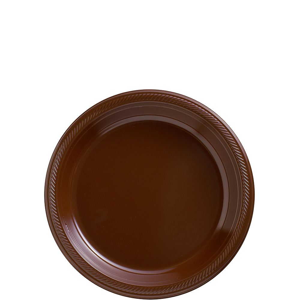 Chocolate Brown Plastic Dessert Plates, 7in, 50ct Image #1