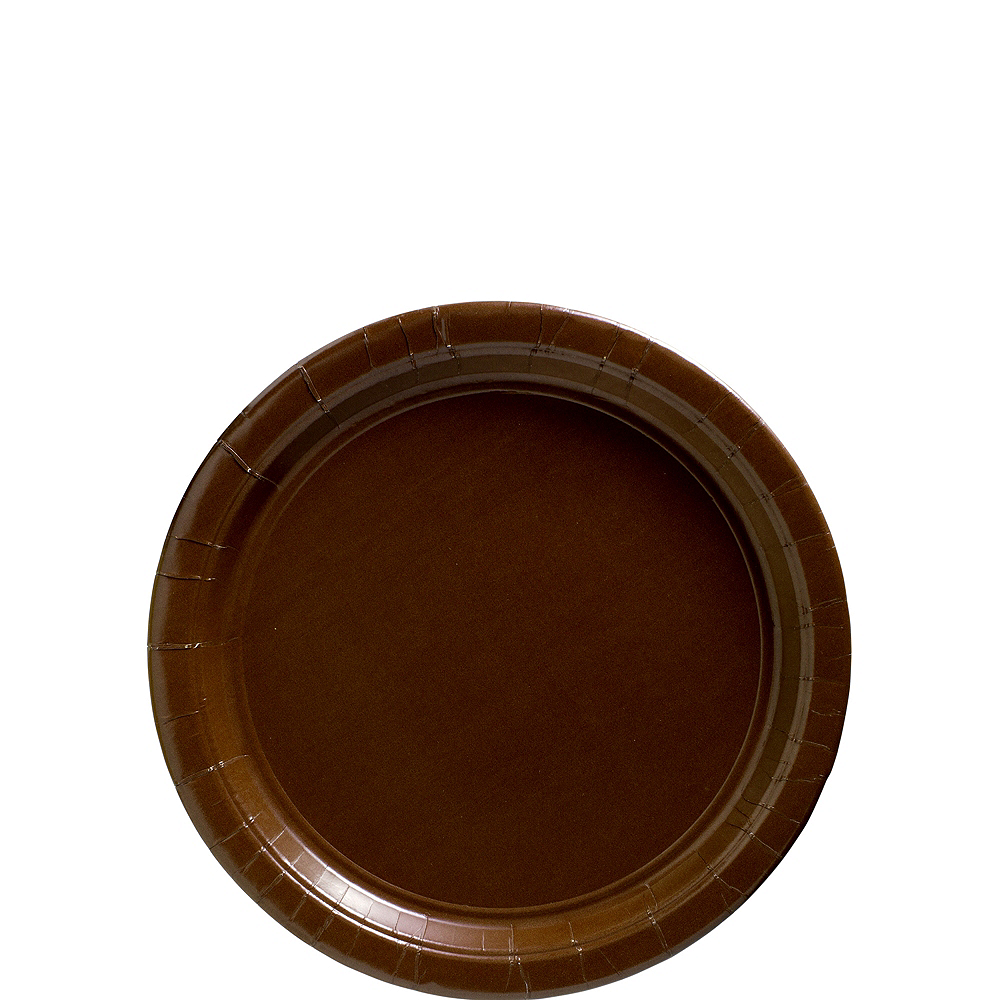 Big Party Pack Chocolate Brown Paper Dessert Plates 50ct Image #1